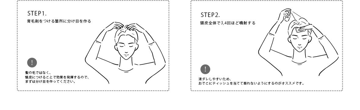 STEP1.育毛剤を付ける箇所に分け目を作る・STEP2.頭皮全体で3,4回ほど噴射する