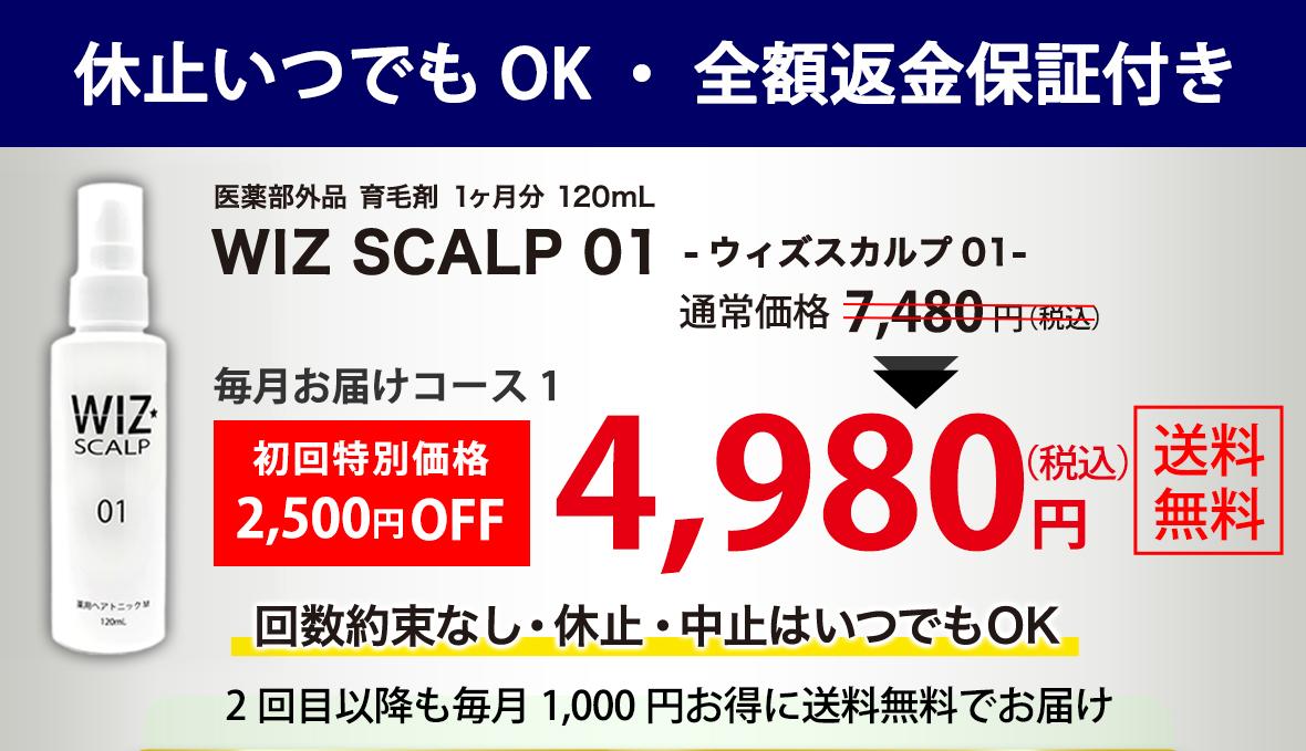 このページのお得なキャンペーン・WIZ SCALP 01 - ウィズスカルプ01 -が通常価格7480円(税込8228円)が初回特別価格2500円OFFの4980円(税込5478円)・回数約束なし、休止中止はいつでもOK・2回目以降も毎月1000円お得に送料無料でお届け。
