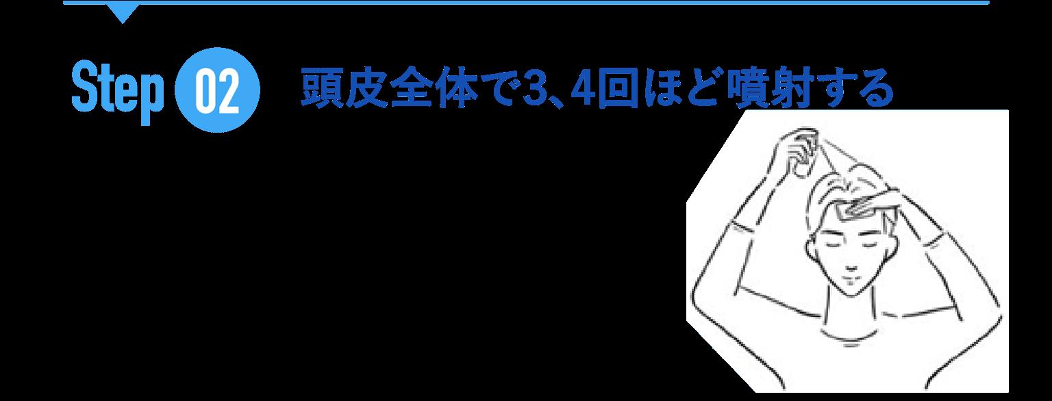 STEP02 頭皮全体で3.4回ほど噴射する 液ダレしやすいため、おでこにティッシュを当てて垂れないようにするのがオススメです。