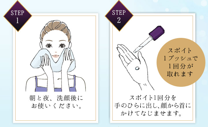 STEP 1 朝と夜、洗顔後にお使いください。 STEP 2 スポイト1プッシュで1回分が取れます スポイト1回分を手のひらに出し、顔から首にかけてなじませます。