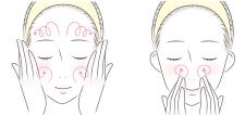 顔を洗う女性のイラスト