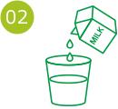 2.コップに牛乳を入れるイラスト