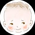 頬の肌トラブルを抱える赤ちゃんのイラスト