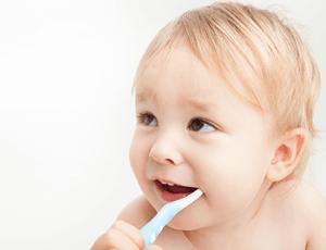 歯みがきをしている赤ちゃんの写真