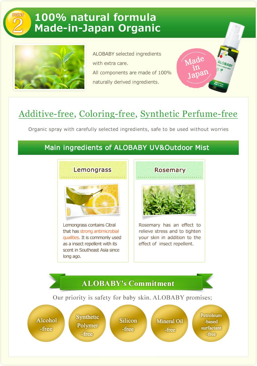 100% natural formula Made-in-Japan Organic