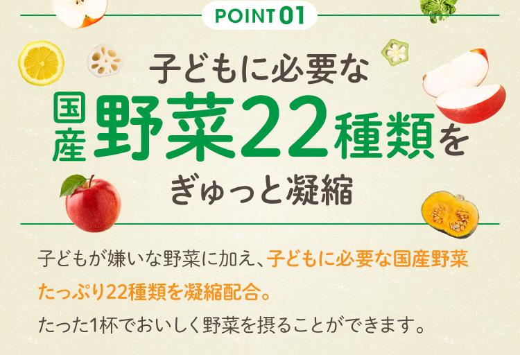 Point01 子どもに必要な国産野菜22種類をぎゅっと凝縮