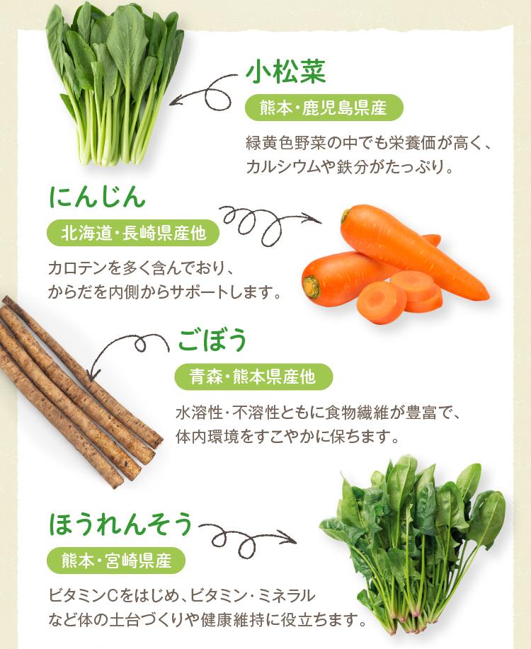 小松菜・にんじん・ごぼう・ほうれんそう