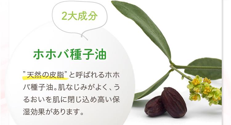 """2大成分 ホホバ種子油 """"天然の皮脂""""と呼ばれるホホバ種子油。肌なじみがよく、うるおいを肌に閉じ込め高い保湿効果があります。"""