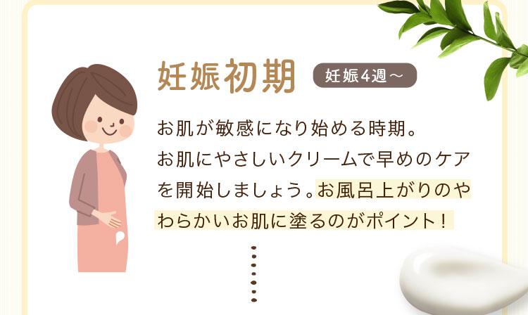 妊娠初期 妊娠4週~ お肌が敏感になり始める時期。 お肌にやさしいクリームで早めのケアを開始しましょう。お風呂上がりのやわらかいお肌に塗るのがポイント!