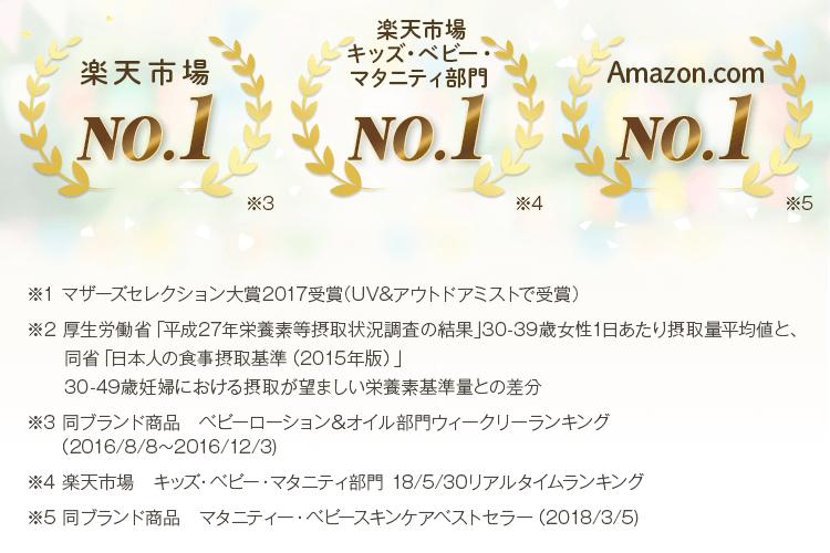 楽天市場No.1、楽天市場キッズ・ベビー・マタニティ部門No.1、Amazon.comNo.1