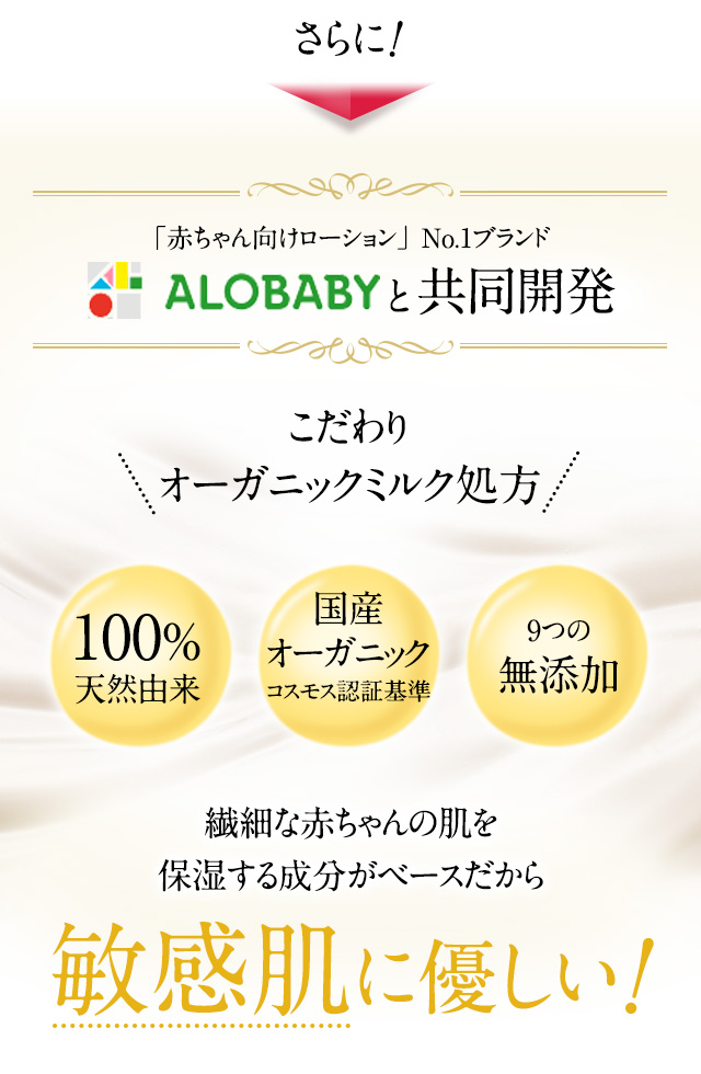 「赤ちゃん向けローション」No.1ブランド ALOBABYと共同開発!