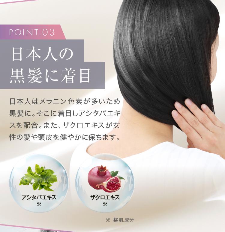 POINT03 日本人の黒髪に着目