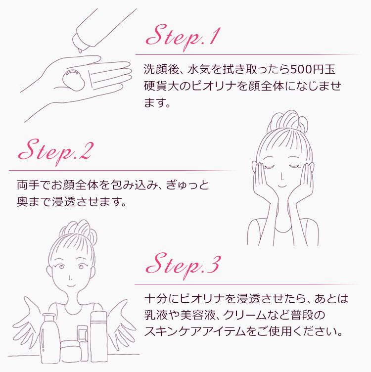 【step1】洗顔後、水気を拭き取ったら500円玉硬貨大のピオリナを顔全体になじませます。【step2】両手でお顔全体を包み込み、ぎゅっと奥まで浸透させます。【step3】十分にピオリナを浸透させたら、あとは乳液や美容液、クリームなど普段のスキンケアアイテムをご使用ください。