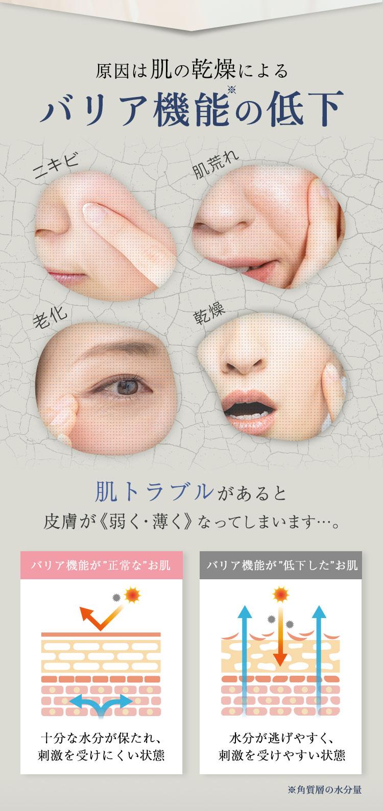 肌の乾燥によるバリア機能の低下 肌トラブルがあると皮膚が弱くなってしまいます…
