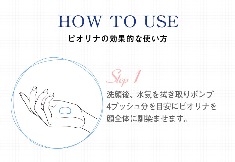 ピオリナの効果的な使い方 洗顔後、水気を拭き取りポンプ4プッシュ分を目安にピオリナを顔全体に馴染ませます。