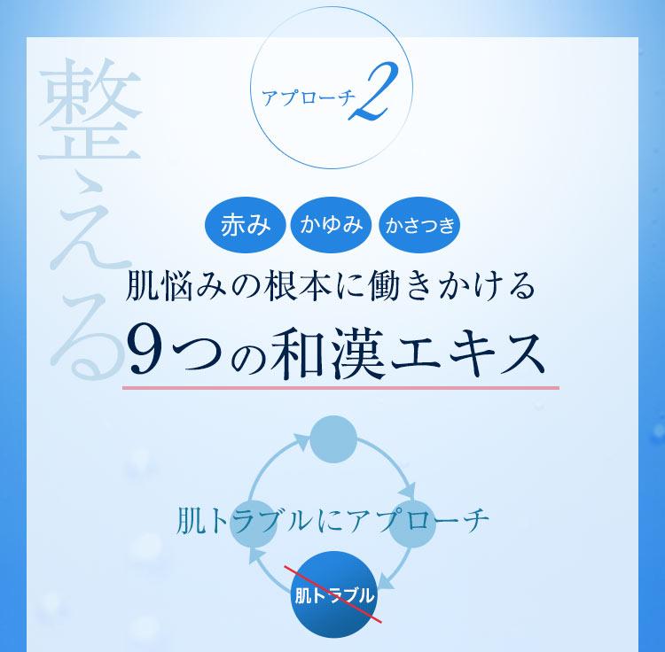 アプローチ2 赤み・かゆみ・かさつき 肌悩みの根本に働きかける9つの和漢エキス