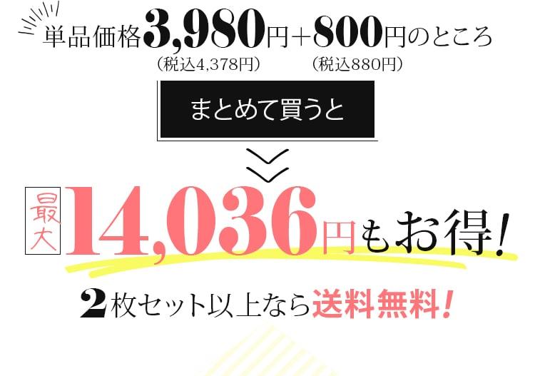単品価格3,980円+800円のところまとめて買うと最安12,760円もお得!2枚セット以上なら送料無料!