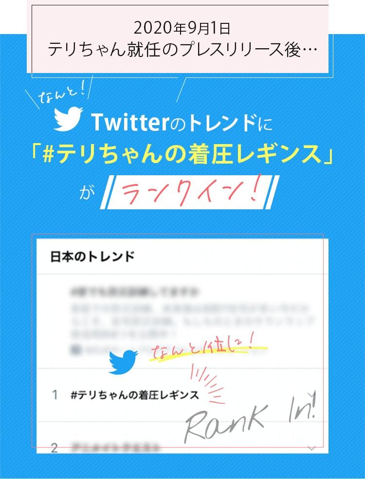 2020年9月1日 テリちゃん就任のプレスリリース後…なんと!Twitterのトレンドに「#テリちゃんの着圧レギンス」がランクイン!なんと1位に!