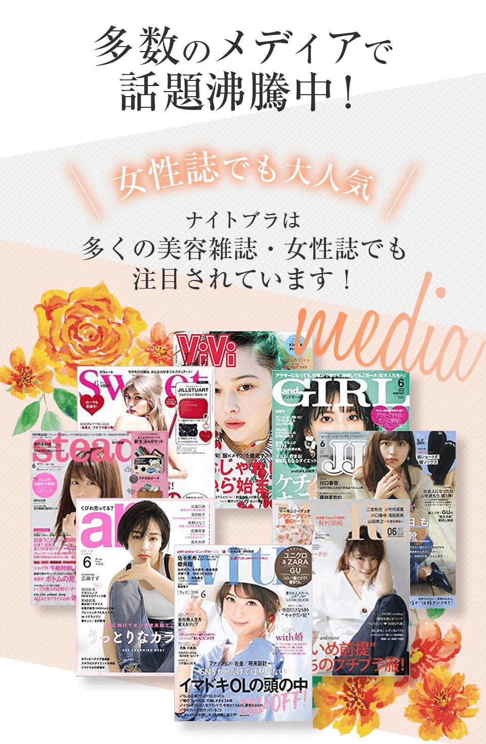 女性誌でも大人気 多くの美容雑誌・女性誌に掲載されました!