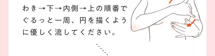 わき→下→内側→上の順番でぐるっと一周、円を描くように優しく流してください。