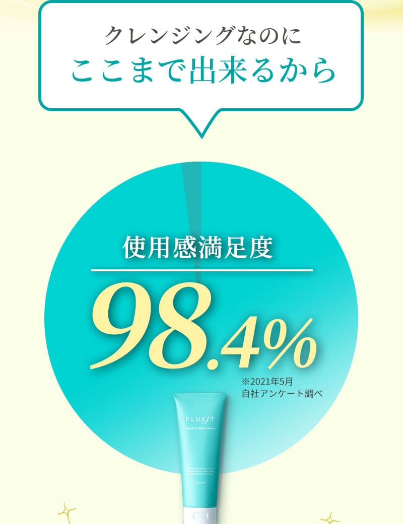 クレンジングなのにここまで出来るから使用感満足度98.4%