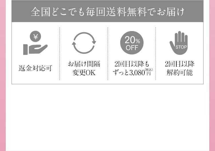 全国どこでも毎回送料無料でお届け 返金対応可 お届け間隔変更OK 20%OFF 2回目以降もずっと3,080円(税込) STOP 2回目以降解約可能