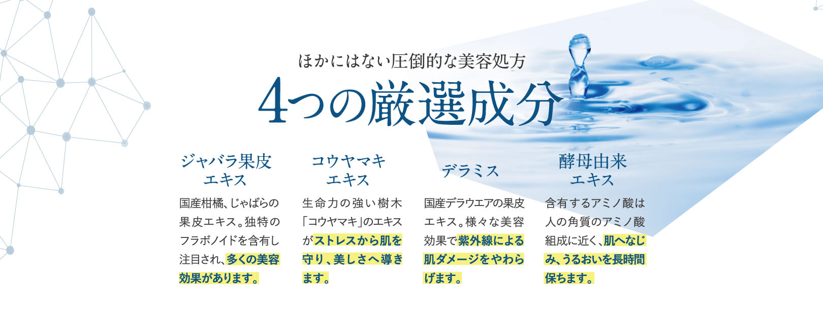ほかにはない圧倒的な美容処方4つの厳選成分