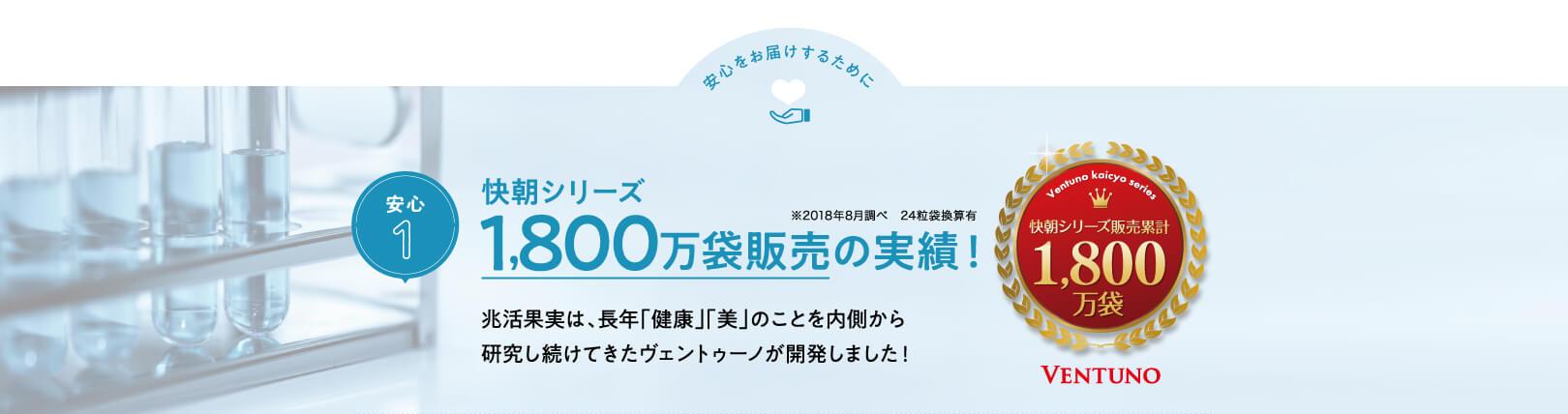 安心をお届けするために 安心1 快朝シリーズ1,800万袋販売の実績!