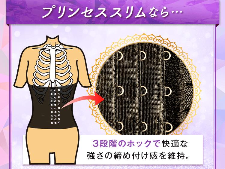 プリンセス スリムなら3段階のホックで快適な強さの締め付け感を維持