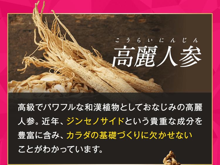 1.高麗人参(こうらいにんじん):ジンセノサイドという貴重な成分が豊富!カラダの基礎づくりに欠かせない