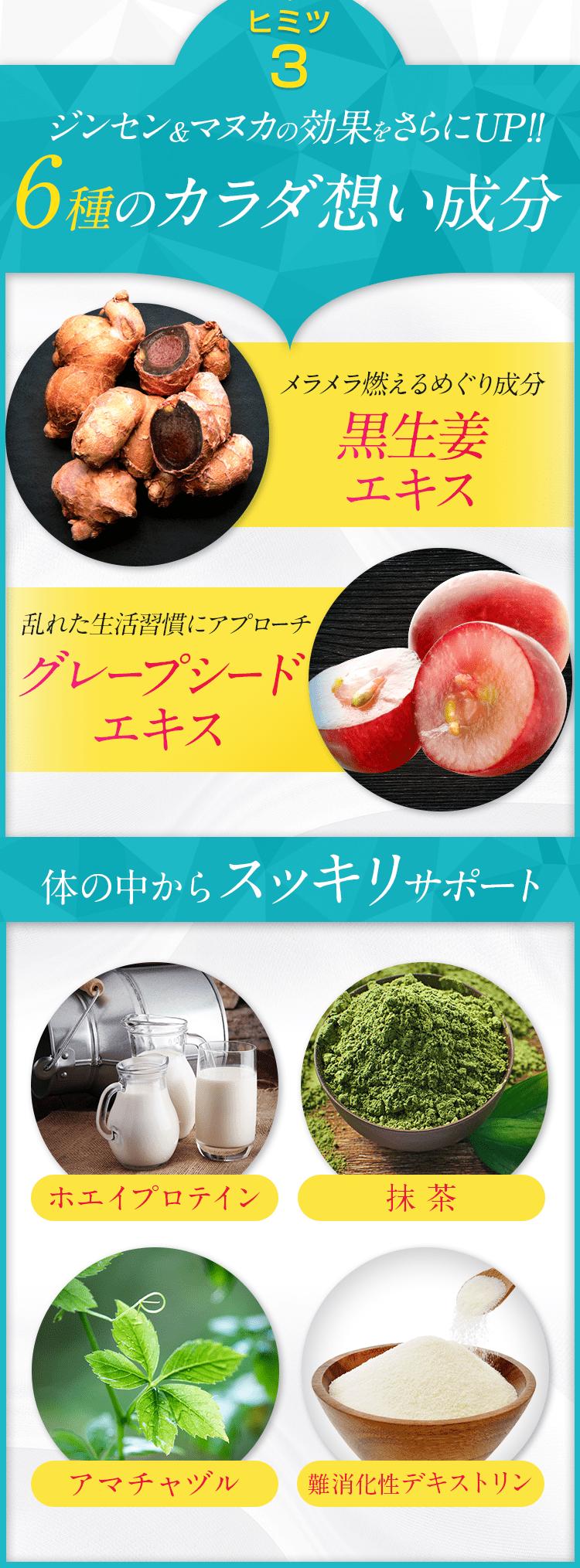 【ヒミツ3】6種のカラダ想い成分:黒生姜エキス・グレープシードエキス・ホエイプロテイン・抹茶・アマチャヅル・難消化性デキストリン