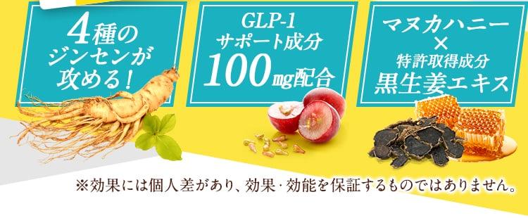 4種のジンセンが攻める!GLP-1サポート成分!マカハニー・特許成分 黒生姜エキス