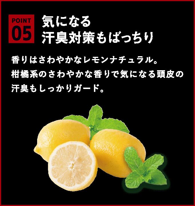 気になる汗臭対策もばっちり。香りはさわやかなレモンナチュラル。柑橘系のさわやかな香りで気になる頭皮の汗臭もしっかりガード。