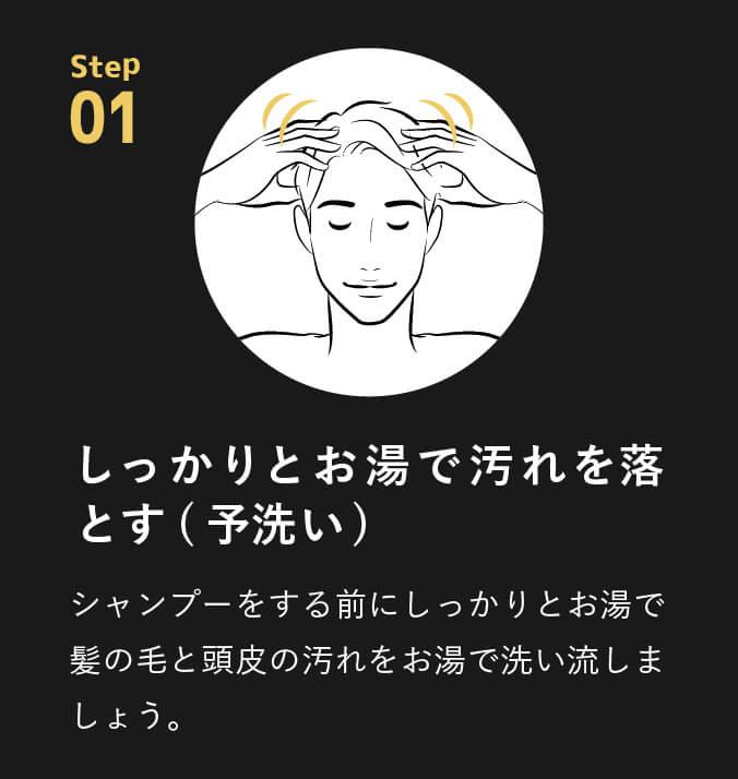 point01 しっかりとお湯で汚れを落とす(予洗い)シャンプーをする前にしっかりとお湯で髪の毛と頭皮の汚れをお湯で洗い流しましょう。