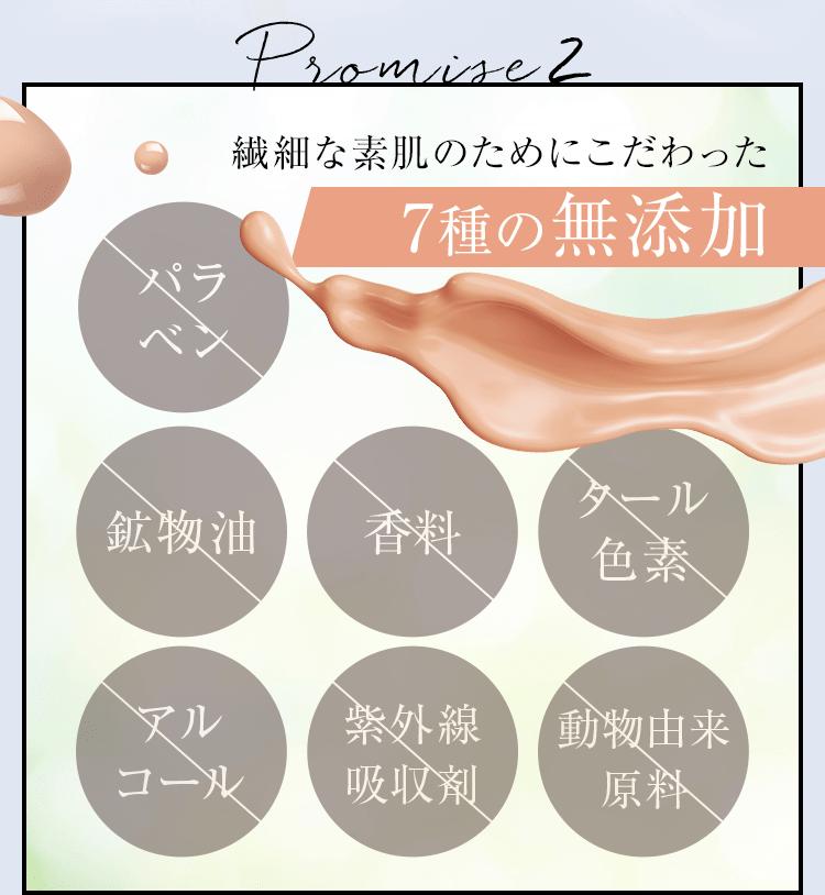 繊細な素肌のためにこだわった7種の無添加