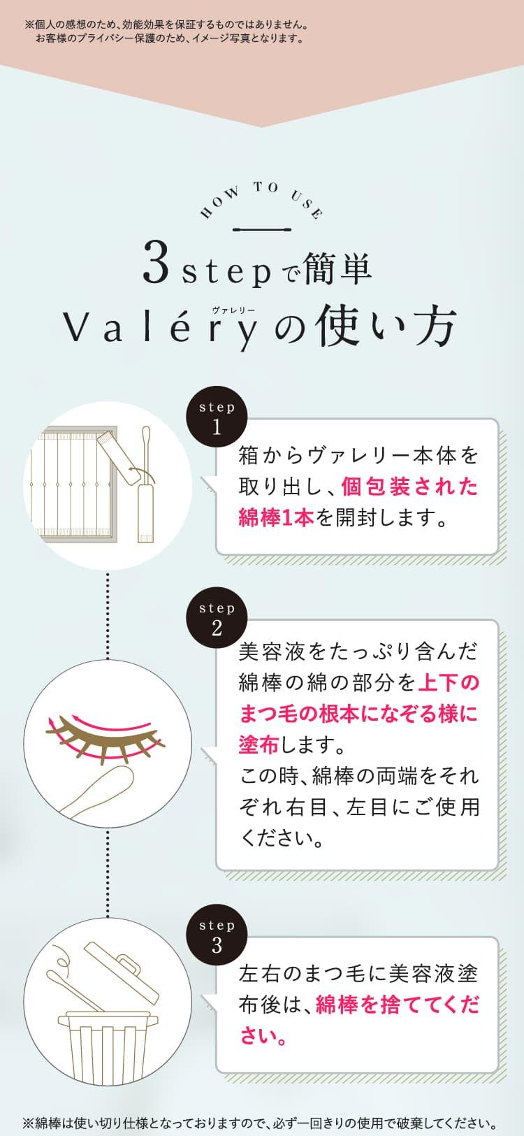 3stepで簡単!Valery(ヴァレリー)の使い方。