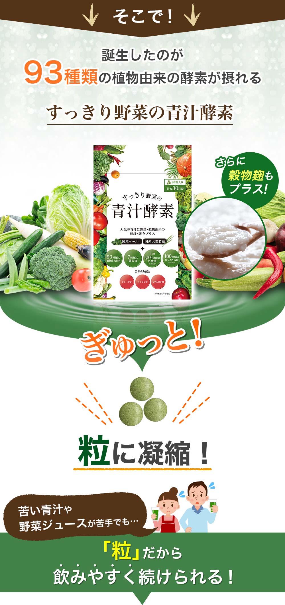 そこで誕生したのが93種類の植物由来の酵素が摂れる「すっきり野菜の青汁酵素」。ぎゅっと粒に凝縮し、苦い青汁や野菜ジュースが苦手でも、「粒」だから飲みやすく続けられる!