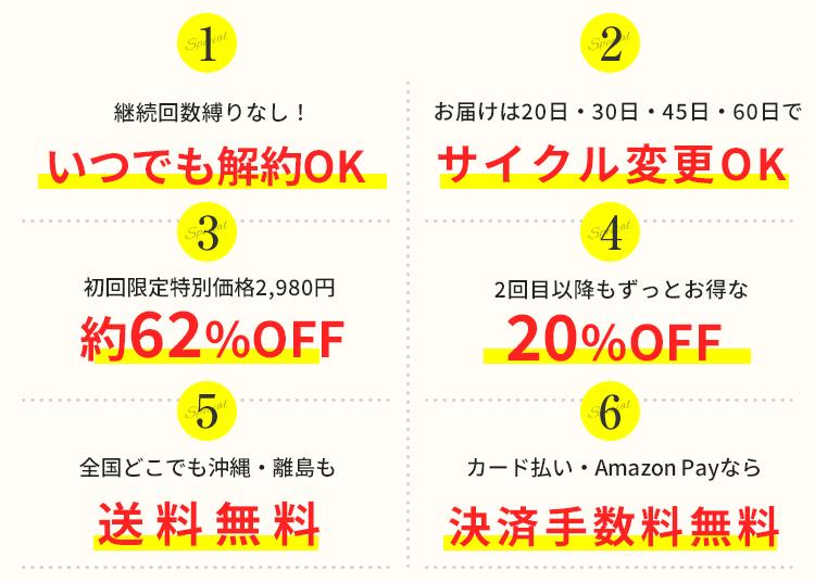 初回特別価格50%OFF 2回目以降もお得な20%OFF 全国どこでも送料無料 決済手数料無料 お届け間隔変更OK 休止・停止いつでもOK