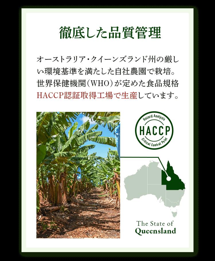 徹底した品質管理 オーストラリア・クイーンズランド州の厳しい環境基準を満たした自社農園で栽培。世界保健機関(WHO)が定めた食品規格HACCP認証取得工場で生産しています。