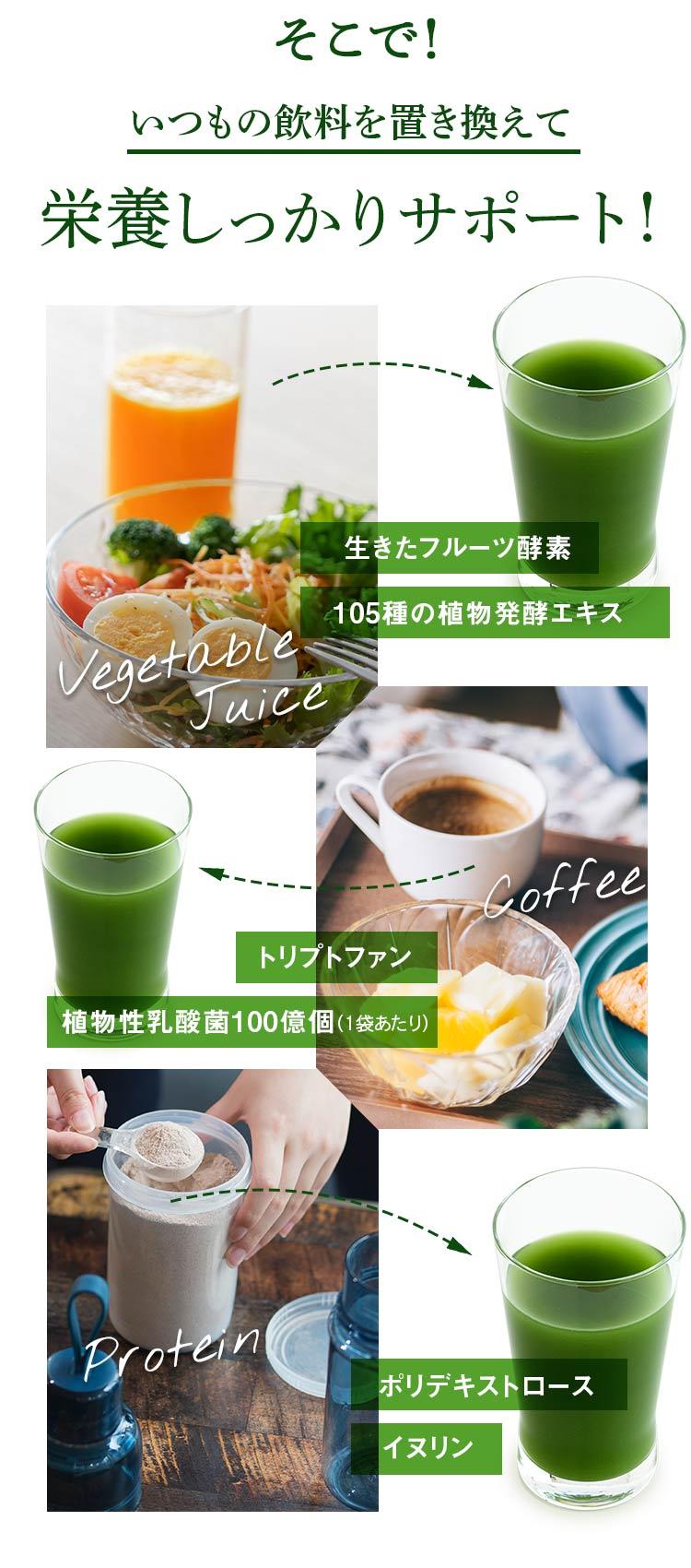 そこで!いつもの飲料を置き換えて、栄養しっかりサポート!生きたフルーツ酵素/105種の植物発酵エキス/トリプトファン/植物性乳酸菌100億個(1袋あたり)/ポリデキストロース/イヌリン