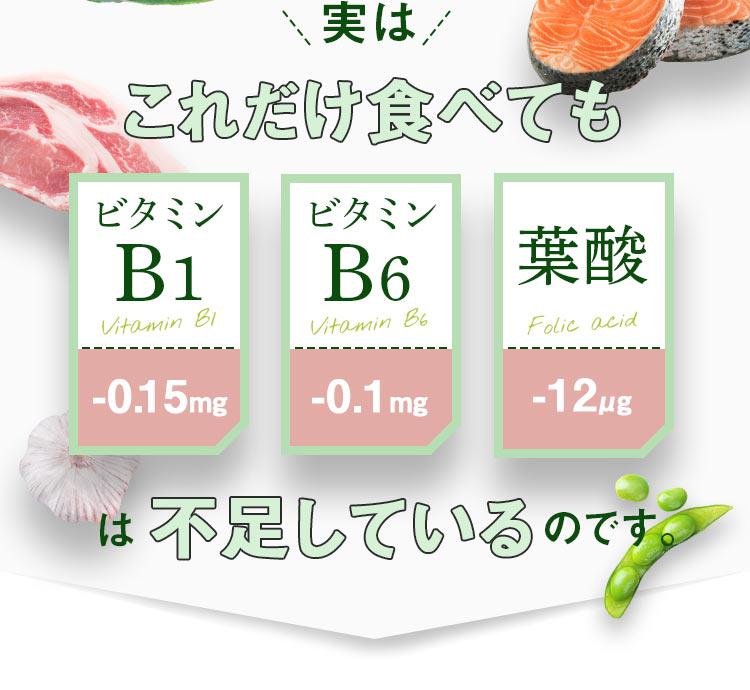 実はこれだけ食べても、ビタミンB1は-0.15mg、ビタミンB6は-0.1g、葉酸は-12μgも不足しているのです。