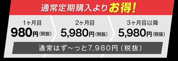通常定期購入よりお得な2ヶ月目以降5,980円(税抜)!通常はずーっと7,980円(税抜)