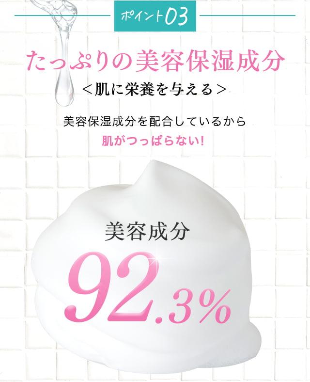 ポイント3 たっぷりの美容保湿成分 肌に栄養を与える 美容保湿成分を配合しているから肌がつっぱらない!美容成分92.3%