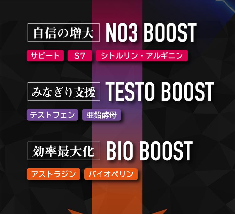 1つ目がNO3BOOST。2つ目がTESTO BOOST。3つ目がBIO BOOSTです。