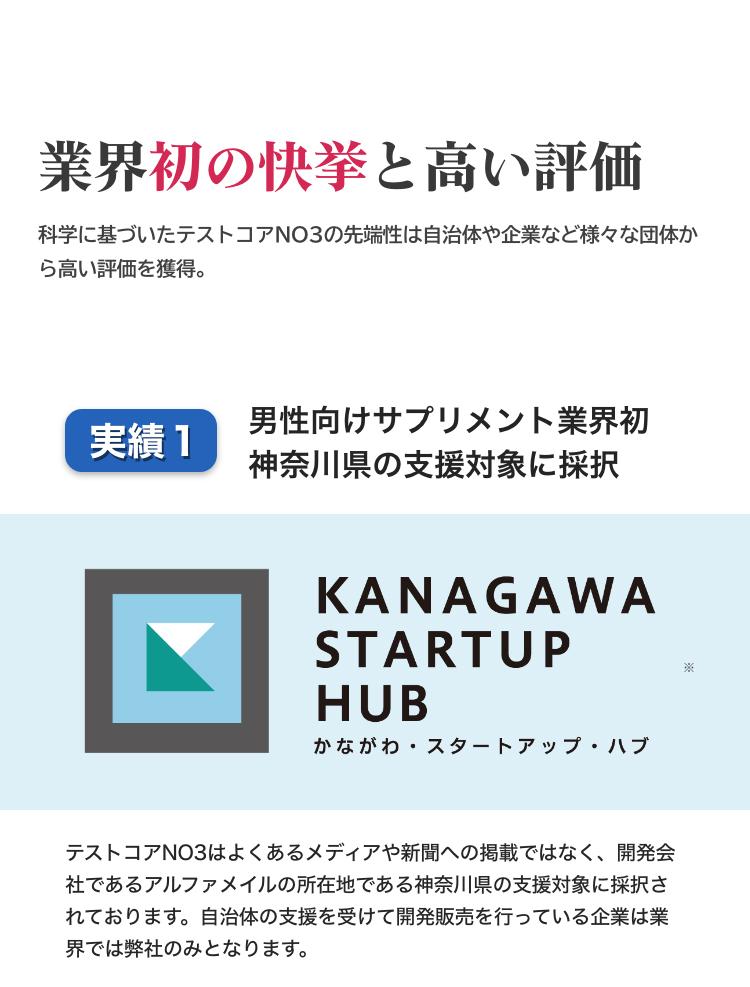 第三者からも高い評価を獲得しているのが、テストコアNO3の特徴です。男性向けサプリメントを開発する会社として業界初。神奈川県の支援対象企業に採択されています。