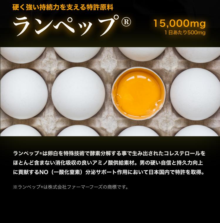 ランペップは卵白を特殊な技術で酵素分解することで生み出されたコレステロールをほとんど含まない消化吸収の良いアミノ酸供給素材です。オトコの持続力向上効果に不可欠なNO分泌サポートの作用において日本国内で特許を取得しています。