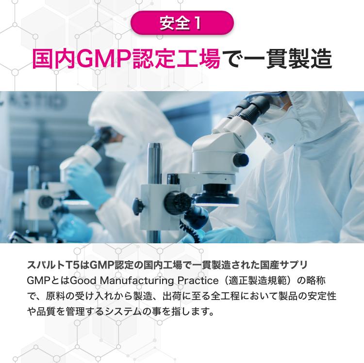 国内GMP認定工場で一貫製造。GMPとは製品の安定性や品質を管理するシステムで、認証を受けている工場で製造されているということは、安全基準を満たした衛生環境で製造されているということと同義なんです。