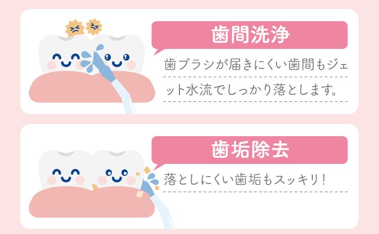 歯ブラシが届きにくい歯間もジェット水流でしっかり落とします。