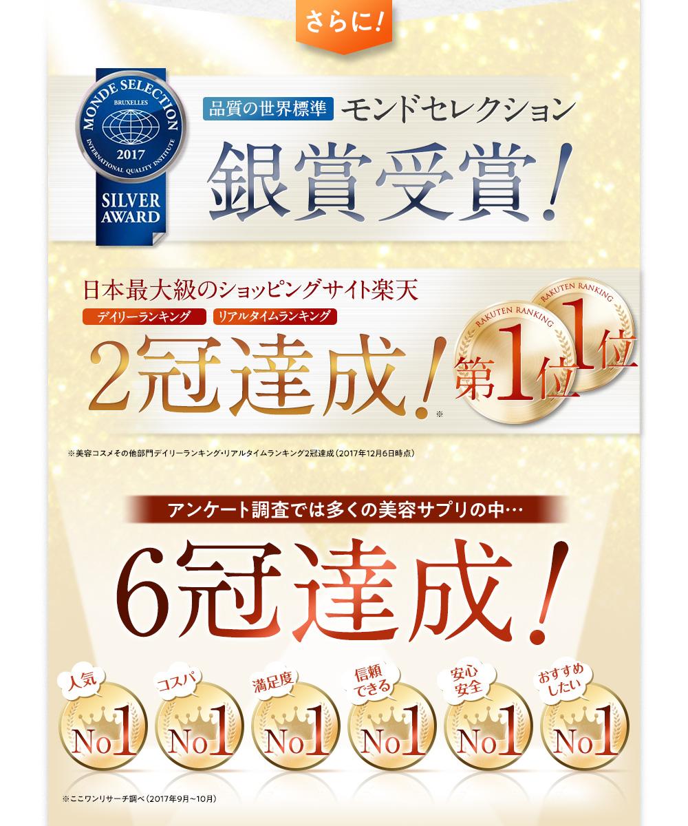 モンドセレクション銀賞受賞! 楽天ラキング2冠達成! アンケート調査6冠達成!