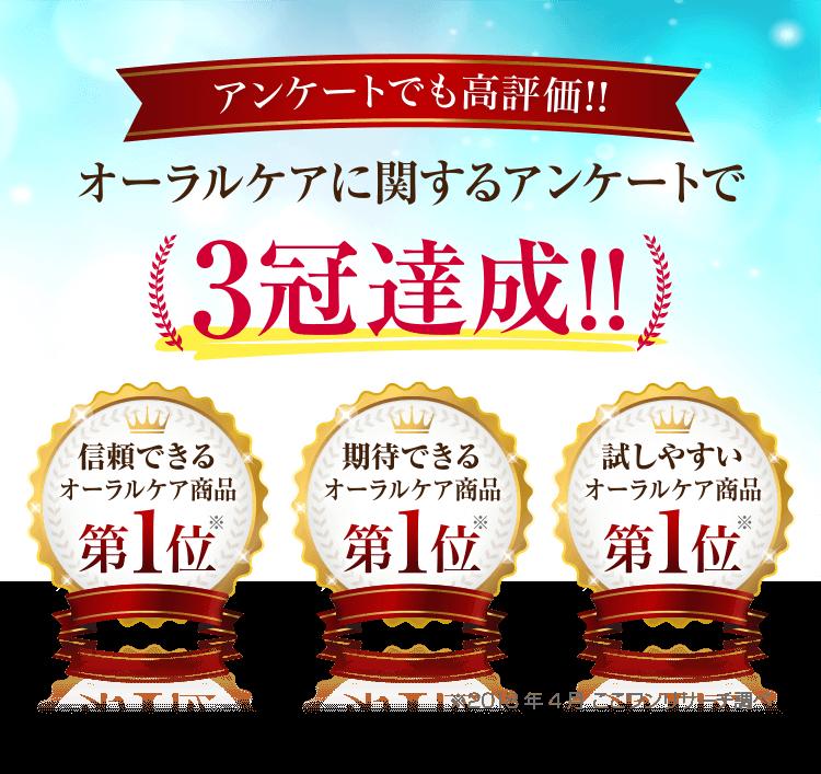 オーラルケアに関するアンケートで3冠達成!!